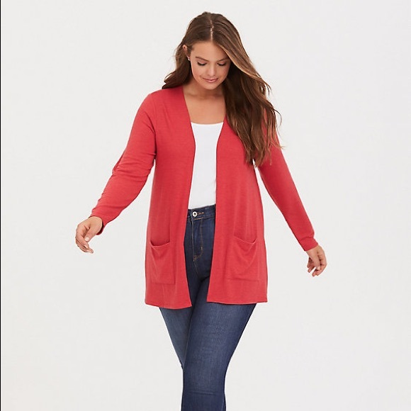 NWT Torrid Dusty Red Open Front Pocket Cardigan